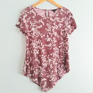 Sami & Jo Mixed Striped Red & White Floral Top